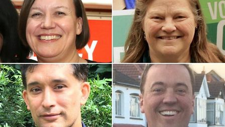 Candidates so far announced, all of whom will be invited to the hustings: clockwise from top left, M