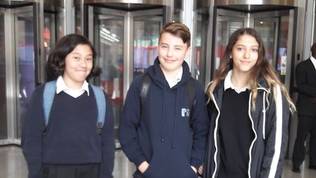 Portland Place School students (from left to right) Tashi Feinstein, Erza Button and Lara Newell hea
