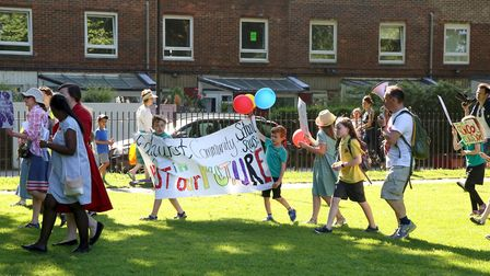 A protest was held in London Fields in response to education funding cuts.