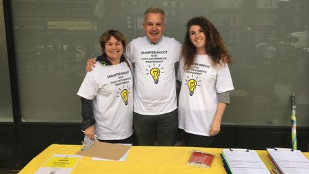Hugh Easterbrook (centre) with supporters Megan Jones (right) and Kirstie Donnelly. Picture: Iai