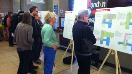 Members of the public view plans for Hornsey Town Hall during Saturday's consultation. Picture: JON