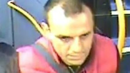 Police would like to speak to this man after a woman was sexually assaulted on a bus travelling towa