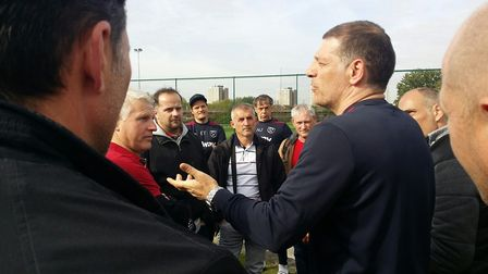 West Ham manager Slaven Bilic with visitors from NK Sracinec Veterani