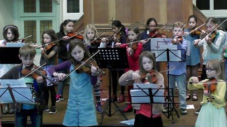 Young violinists from the Muswell Hill Violin Studio play the theme from Star Wars.