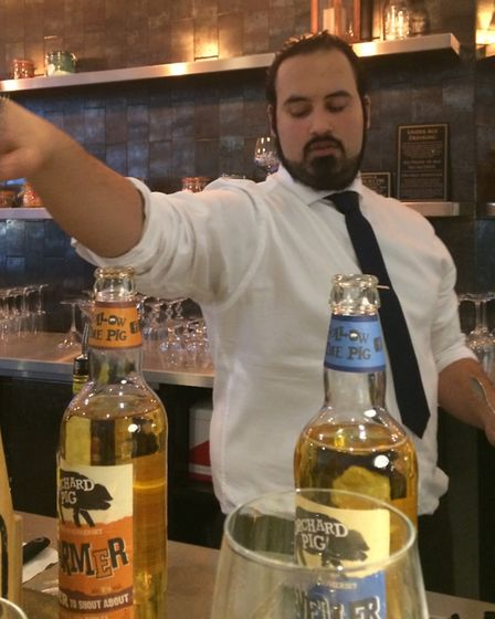 Leo Aragon, Tonic and Remedy's bar manager who leads the cider cocktail making class