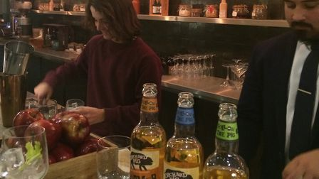 Leo Aragon, Tonic and Remedy's bar manager leads the cider cocktail making class
