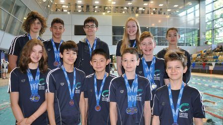 Camden Swiss Cottage swimmers with their medals from the London Regional Championships