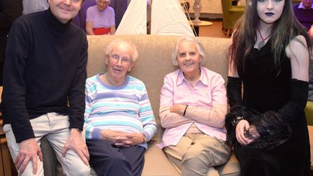 Entertainers John West and Katherine Nicholls with Dell Care Home residents at the unveiling of new