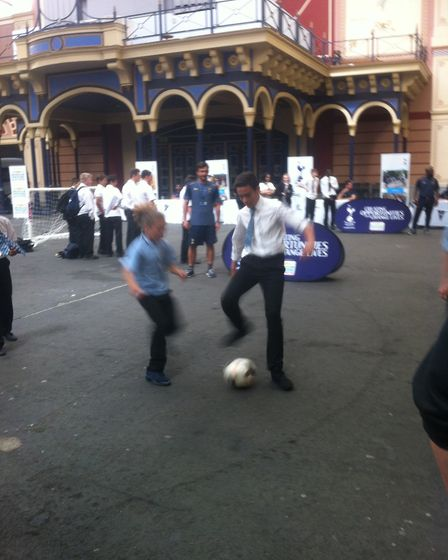 Youngsters take part in a football activity run by Tottenham Hotspur at the Haringey Box Cup Schools