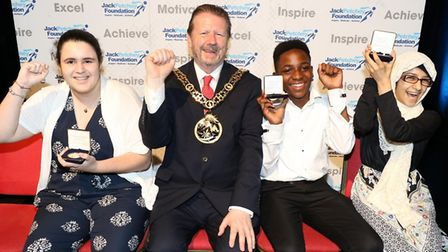 Blanche Nevile School for Deaf Children students show off their awards with Mayor of Haringey, Cllr
