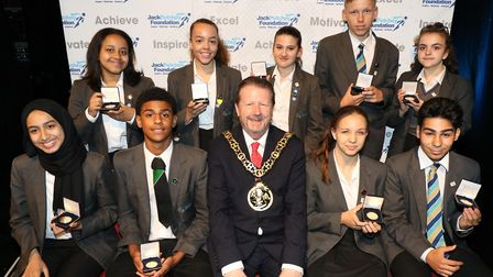 Heartlands High School students show off their awards with Cllr. Stephen Mann, Mayor of Haringey, Cl
