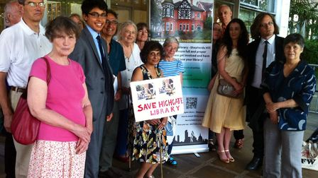 Supporters of Highgate Library, in Shepherd's Hill, after Haringey Council's cabinet meeting to disu