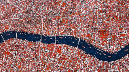 Barbara Macfarlane's Red London will be on sale. The birds eye view of the Thames was created in oil