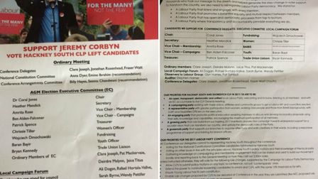 A 'slate' circulated by 'Hackney South Grassroots Left' ahead of the AGM endorsing specific candidat