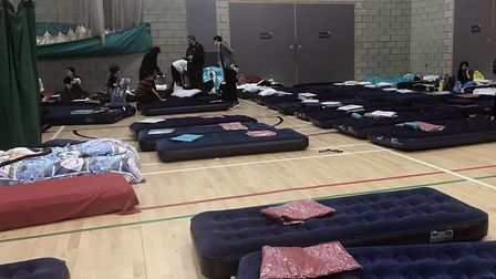 Many spent a third night on beds in the Swiss Cottage Leisure Centre