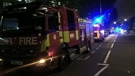 Sixty firefighters tackled a blaze in Mansfield Road, Gospel Oak, on Sunday night. Picture: @LFBEnfi