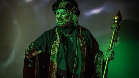 Aladdin's arch nemesis Abanazar was played by Darren Clewlow-Smith. Picture: Pamela Raith.