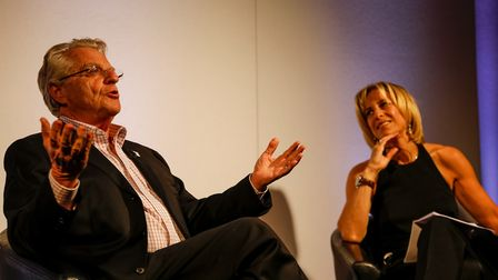 Jerry Springer in conversation with Emily Maitlis at a World Jewish Relief event. Photo: Andy Tyler