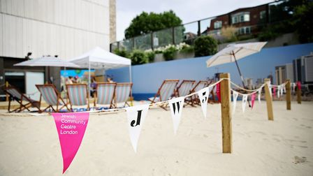 Free tennis lessons are behind held for children under-10 on a Hampstead beach on July 2