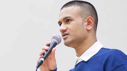 Abdal Hassan is pictured here speaking at Stoke Newington School's community evening. Picture by Nat