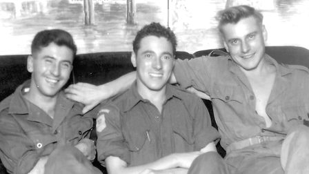 Ron, centre, with his friends George and Bill. This is the photo from which the book cover was taken