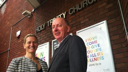 Kristin Breuss, associate pastor and Tim Keightley, executive director from Trinity Church in Swiss