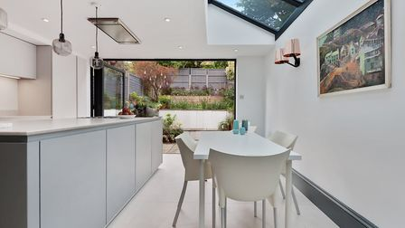 A modern kitchen has been added in the new extension of the property on Parolles Road