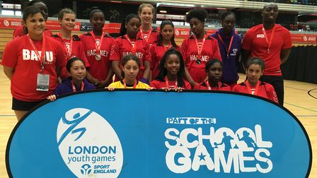 Hackney girls' handball team with their silver medals (Pic: Jacob Ranson)