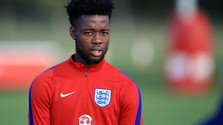Tottenham Hotspur youngster Josh Onomah in training for England (pic: Mike Egerton/PA Images).