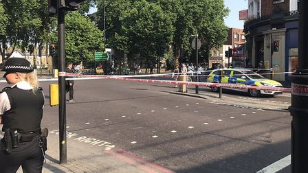 The road was closed off by police. Picture: Mark J. Douglas