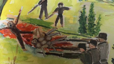 Detail from Lily's painting of her parents being shot and buried in a mass grave during the Holocaus