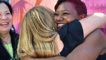 Former students greet each other, including (facing camera) Sharon Rodney. Picture: Polly Hancock