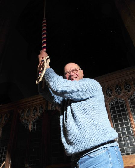 Bob Howe rings the bells. Picture: SARAH LUCY BROWN