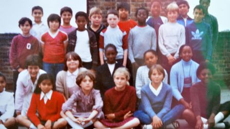 An Amherst class photo from the 1980s.