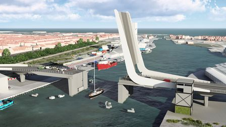 The proposed design for the Lake Lothing Third Crossing, pictured with the bridge open.