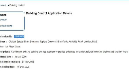 The building control application was made in March 2006 and the project was completed in December 20