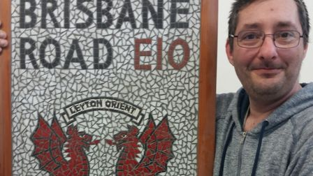 'Mosaic man' James Johnson James Johnson with his Brisbane Road E10 masterpiece. Picture: Melvyn Cha