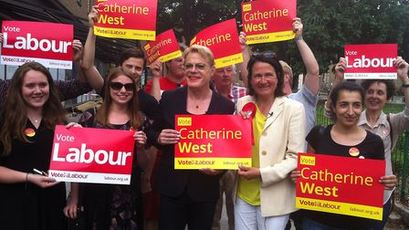 Comedian Eddie Izzard joined the Labour Party candidate for Hornsey and Wood Green Catherine West in