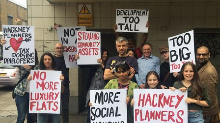 Protesters outside the bingo hall in Hackney Road.