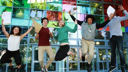 Students at City Academy Hackney receive thei GCSE results in 2014. Picture: Isabel Infantes