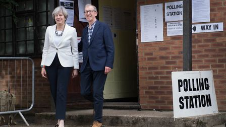 Prime Minister Theresa May casts her vote in Sonning, Berkshire.The Conservative Party pledges a mil