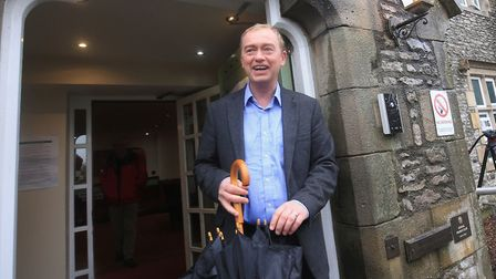 Liberal Democrat leader Tim Farron casts his vote in the General Election at Stonecross Manor Hotel