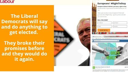 These Facebook 'dark adverts' were targeted at voters in Hackney by Labour (left), the Liberal Democ