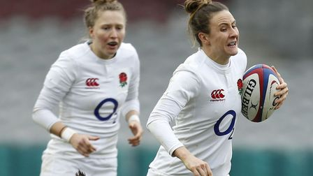 Saracens Sarah McKenna scored a hat-trick of tries for England women in their tour opener against Au