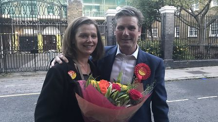 Keir Starmer celebrates victory with wife Victoria