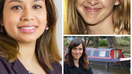 From left to right: Labour's Tulip Siddiq; Conservative candidate Claire-Louise Leyland and the Libe