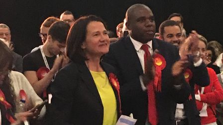 Labour's Catherine West (centre) has held Hornsey and Wood Green with an increased majority of more