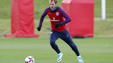 Tottenham's Harry Kane during an England training session at St George's Park (pic Martin Rickett/PA
