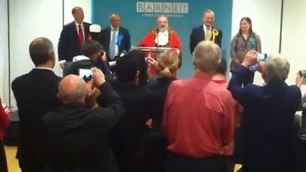 The Conservative Party's Mike Freer won for the third time in Finchley and Golders Green but with a