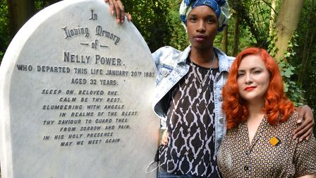 Kat Kai Kol-Kes and Nell James Grace at the grave of Nelly Power in Abney Park Cemetery. Picture: Po